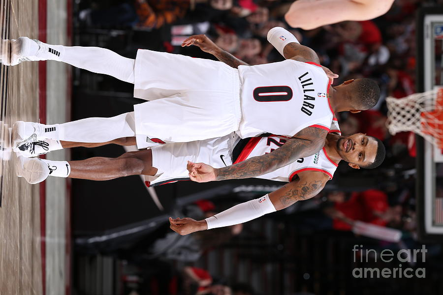 Damian Lillard and Kent Bazemore Photograph by Sam Forencich