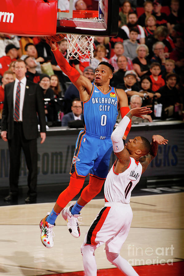 Damian Lillard and Russell Westbrook Photograph by Cameron Browne