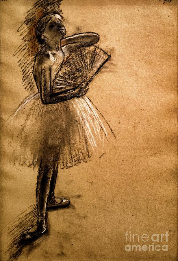 Dancer with a Fan 1 by Degas by Edgar Degas