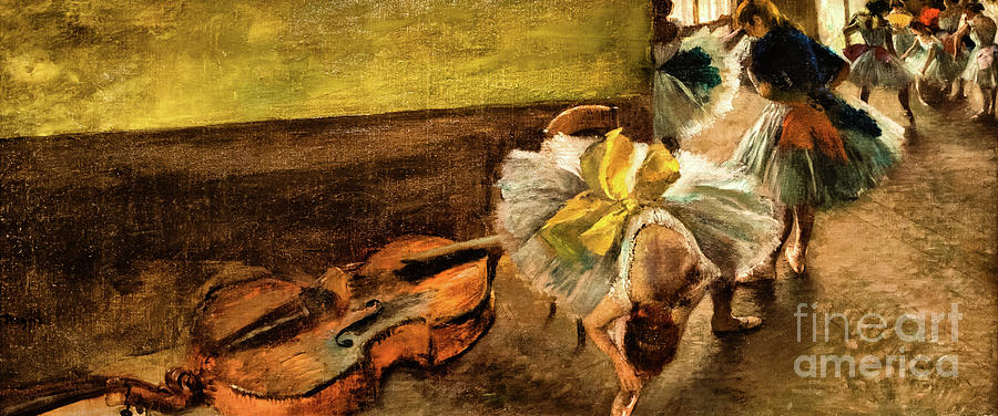 Dancers in the Rehersal Room with a Double Bass by Edgar Degas