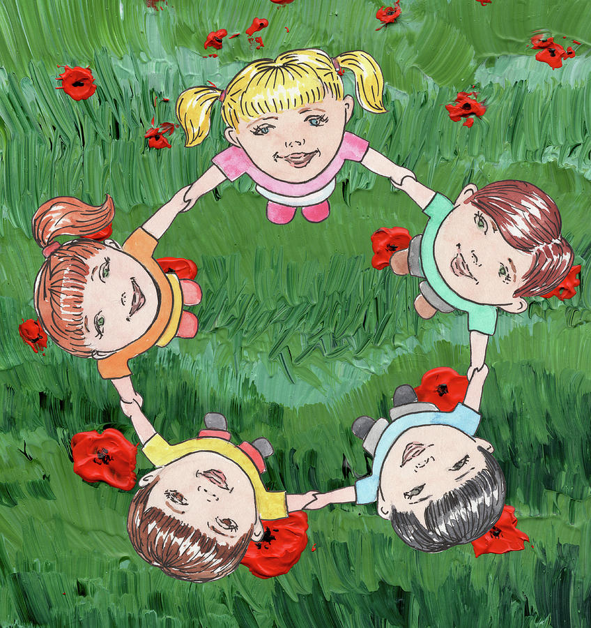 Dancing Children On Red Poppy Field Painting