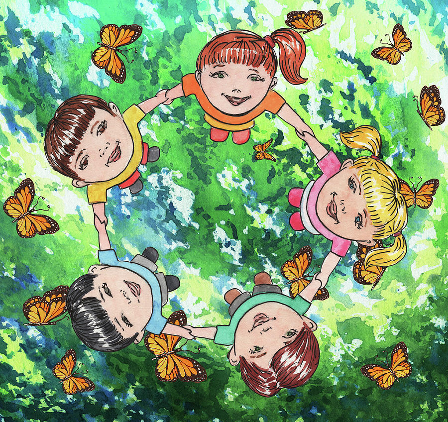 Dancing With Butterflies Kids Happy Circle Watercolor Painting
