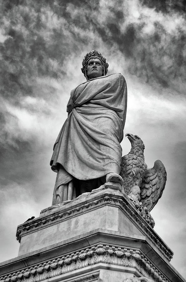 Dante Alighieri Monument Statue in Piazza Santa Croce Florence Italy Black and White by Shawn O'Brien