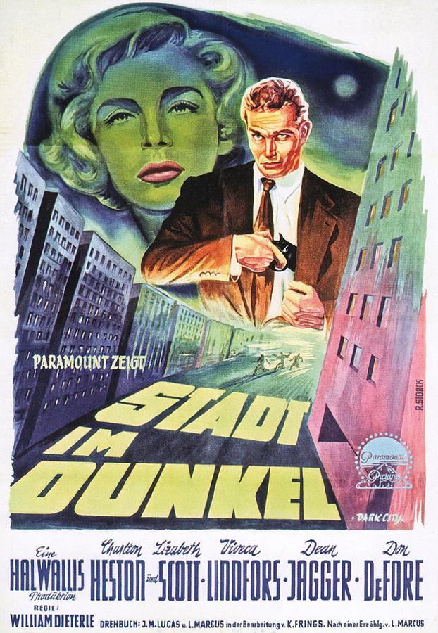 dark City, With Charlton Heston And Lizabeth Scott, 1950 Mixed Media