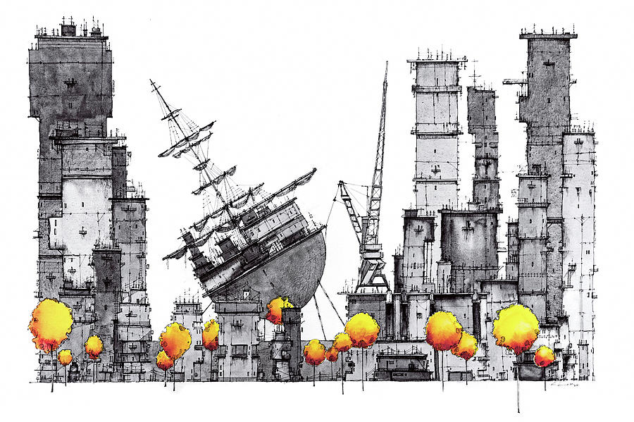 City Drawing - Dark city with one ship by Martin Lachmair