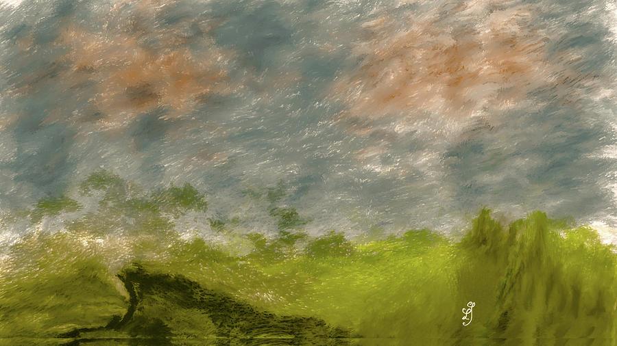 Dark Cliff In Green #l1 Digital Art