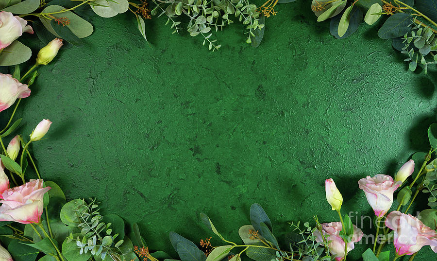 Dark Green Photograph - Dark green aesthetic nature theme creative layout flat lay background. by Milleflore Images