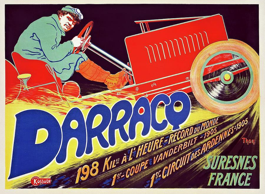 Antic Cars Painting - Darracq 1906 Vintage Automobile Poster by Walter Thor