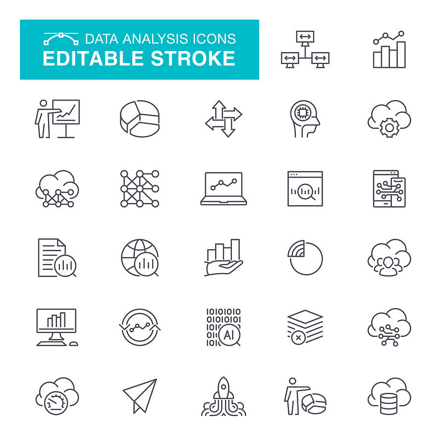 Data Analysis Editable Stroke Icons Drawing by Forest_strider