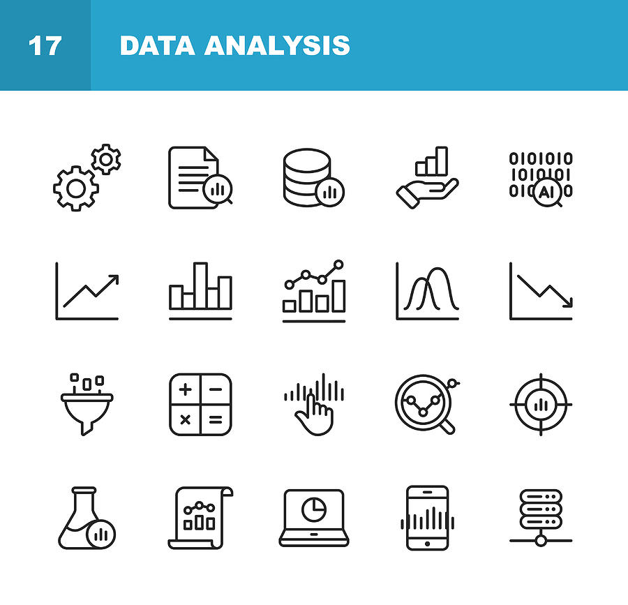 Data Analysis Line Icons. Editable Stroke. Pixel Perfect. For Mobile and Web. Contains such icons as Settings, Data Science, Big Data, Artificial Intelligence, Statistics. Drawing by Rambo182