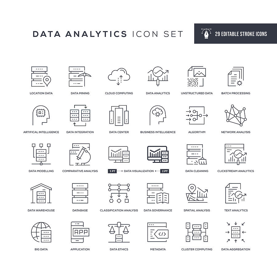 Data Analytics Editable Stroke Line Icons Drawing by Enis Aksoy
