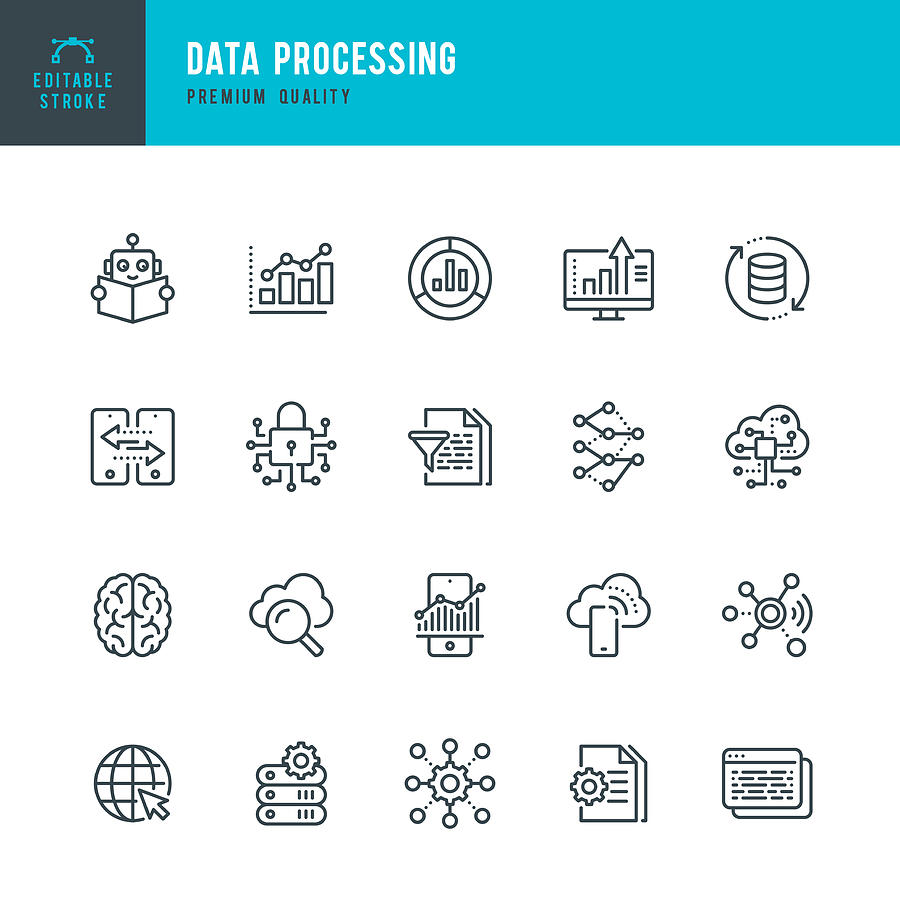 Data Processing - thin line vector icon set. Editable stroke. Pixel Perfect. Set contains such icons as Data, Infographic, Big Data, Cloud Computing, Machine Learning, Security System. Drawing by Fonikum