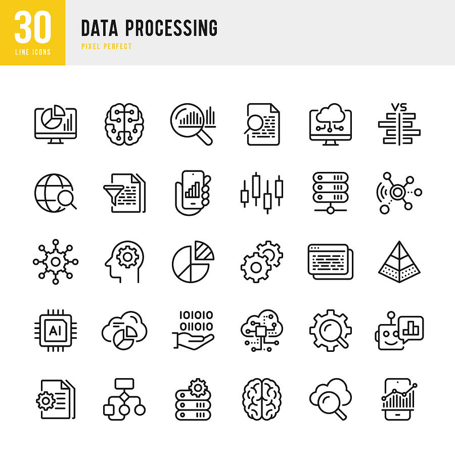 Data Processing - thin line vector icon set. Pixel Perfect. Set contains such icons as Data, Infographic, Big Data, Cloud Computing, Artificial Intelligence, Brain, Machine Learning, Security System. Drawing by Fonikum