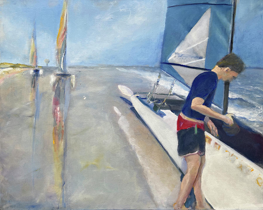 Catamaran Painting - Dave by his Sailboat by Jodee Clifford