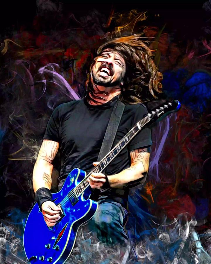 David Grohl Digital Art - Dave Grohl  by Scott Wallace Digital Designs