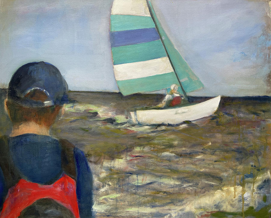 Sailboat Painting - Dave on his Sailboat by Jodee Clifford