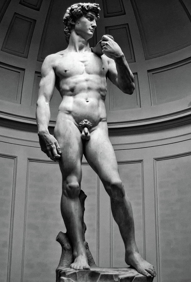 David by Michelangelo in Florence Italy Black and White by Shawn O'Brien