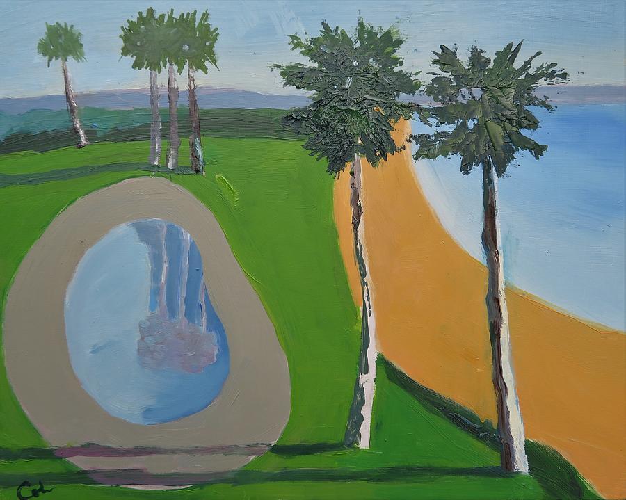 David Hockney Never Swam Here Painting