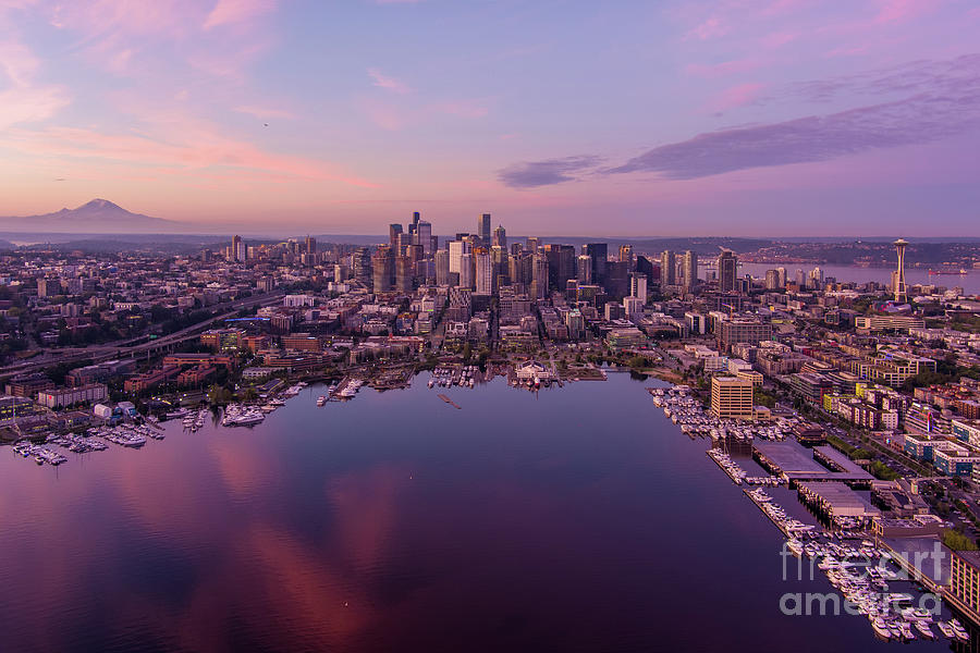 Dawn Above The Seattle Skyline Photograph