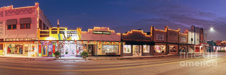 Dawn Panorama of Historic 19th Street Storefronts - The Heights Neighborhood - Houston Texas by Silvio Ligutti