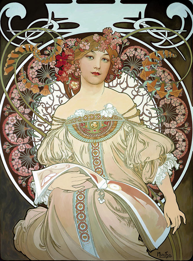 Day Dream After Alfonse Mucha Painting