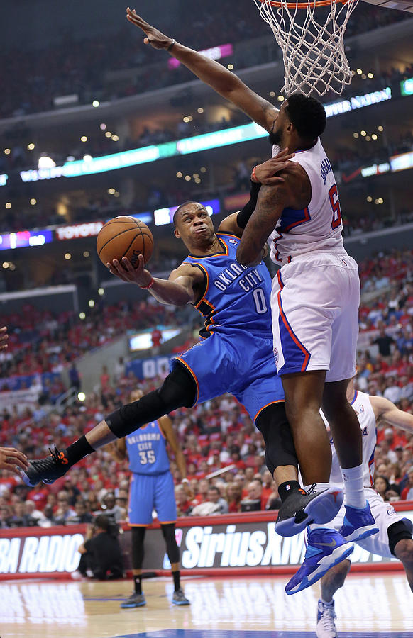 Deandre Jordan and Russell Westbrook Photograph by Stephen Dunn