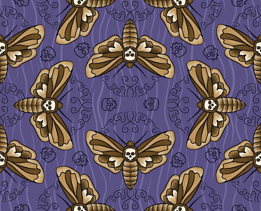 Moth Digital Art - Death Head Moth on Aubergine by Tes Scholtz