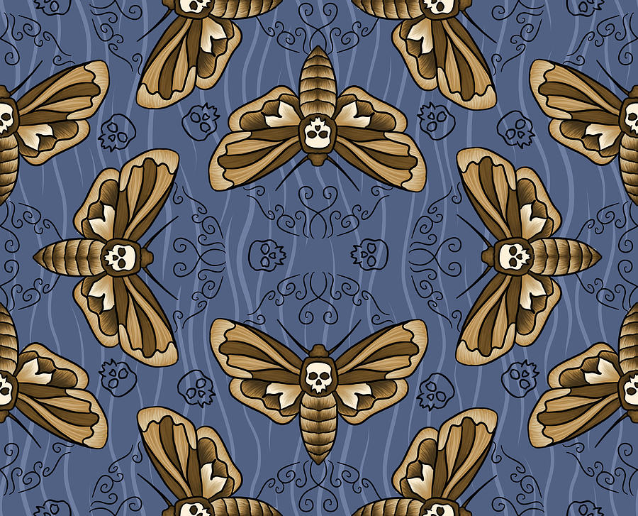 Death Head Digital Art - Death Head Moth on Indigo by Tes Scholtz
