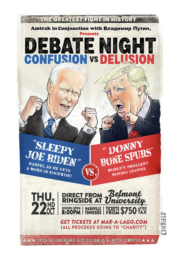 Debate Night Confusion vs Delusion Painting by Jason Chatfield and Scott Dooley