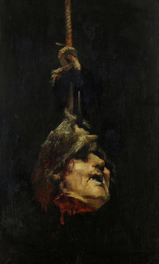 Alisal Painting - Decapitated Head Hung By The Hair by Jose Casado del Alisal
