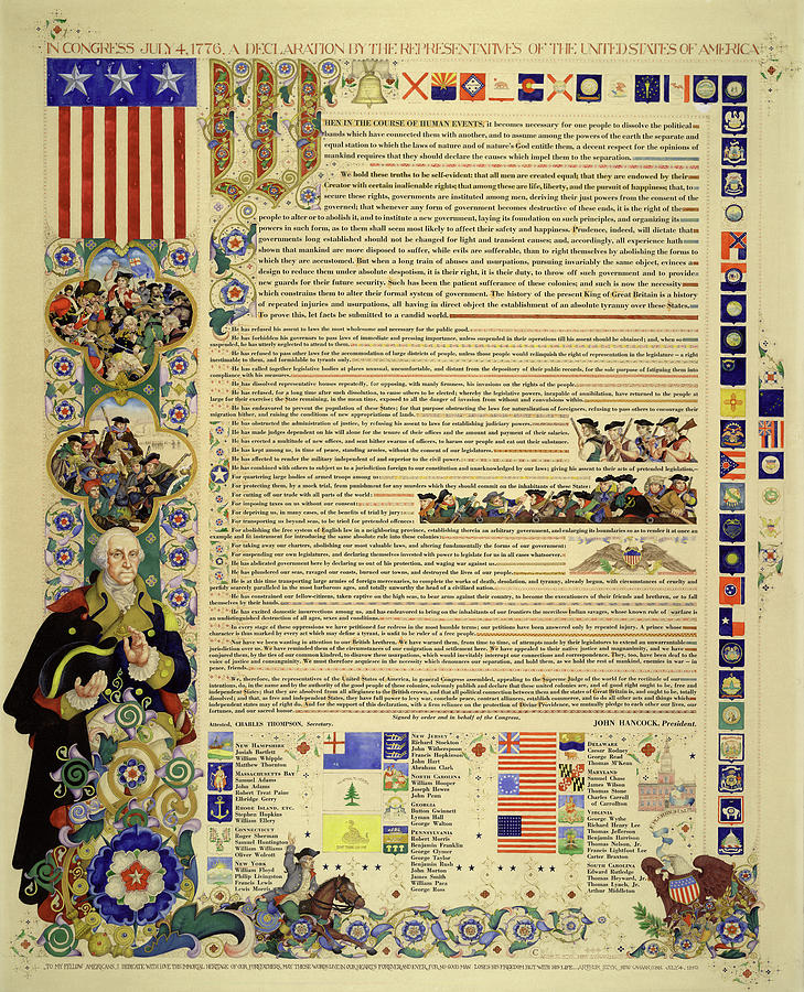 Declaration Of Independence Painting - Declaration Of Independence Of United States In Congress July 4, 1776 by Arthur Szyk
