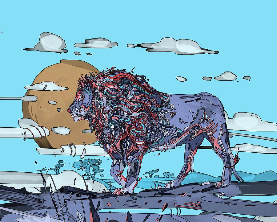 Decorative Lion Portrait Digital Art