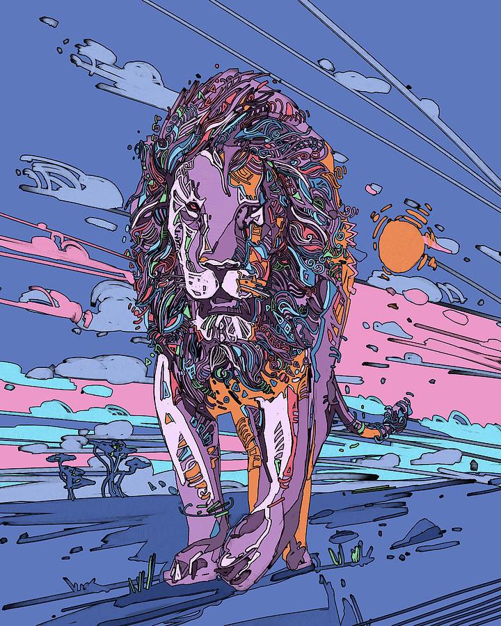 Decorative Lion Portrait V3 Digital Art