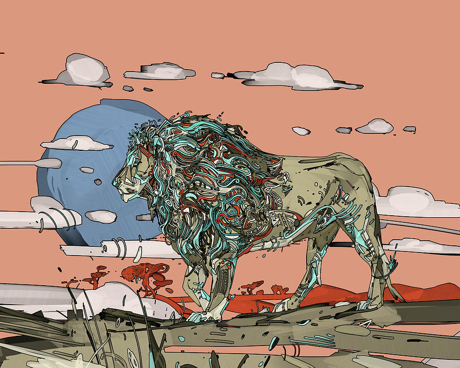 Decorative Lion V2 Digital Art