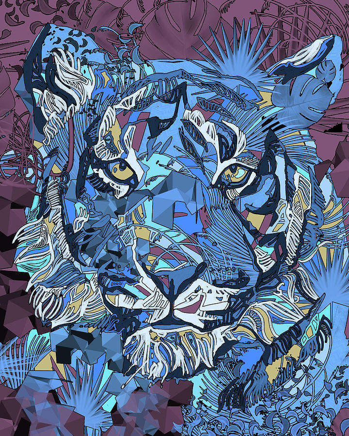 Decorative Tiger Face V2 Digital Art