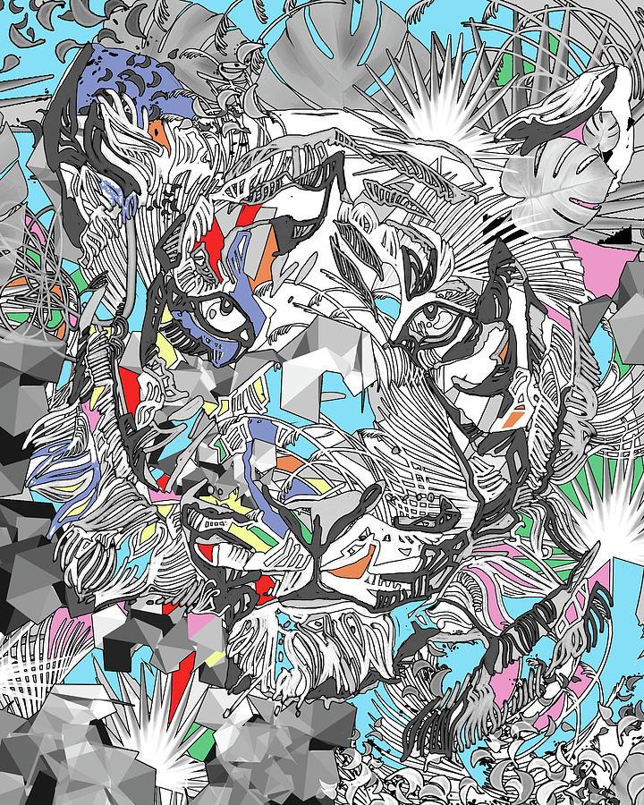 Decorative Tiger Face V3 Digital Art