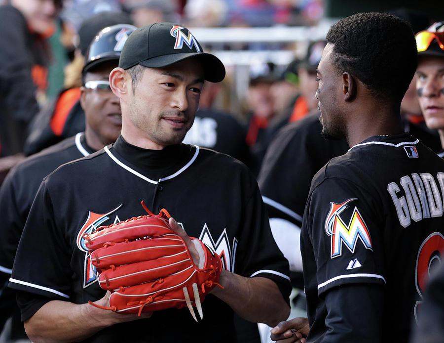Dee Gordon And Ichiro Suzuki Photograph by Adam Hunger