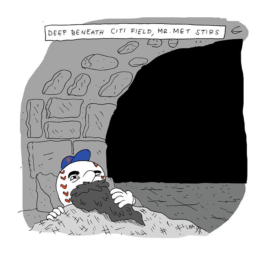 Deep Beneath Citi Field Drawing by Lucas Adams
