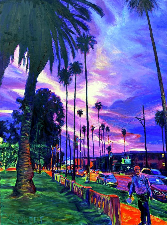 Sunset Painting - Deep City Sunset by Bonnie Lambert