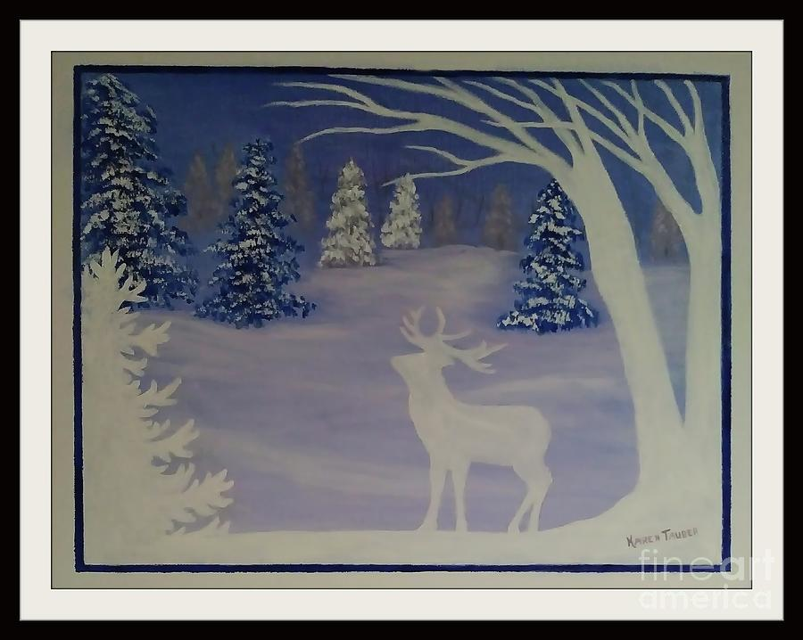 Deer And Snow Forest Painting