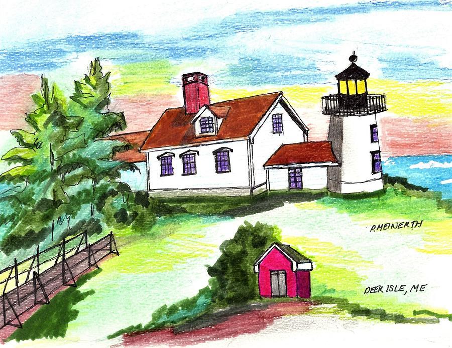Deer Ilse Light House Drawing
