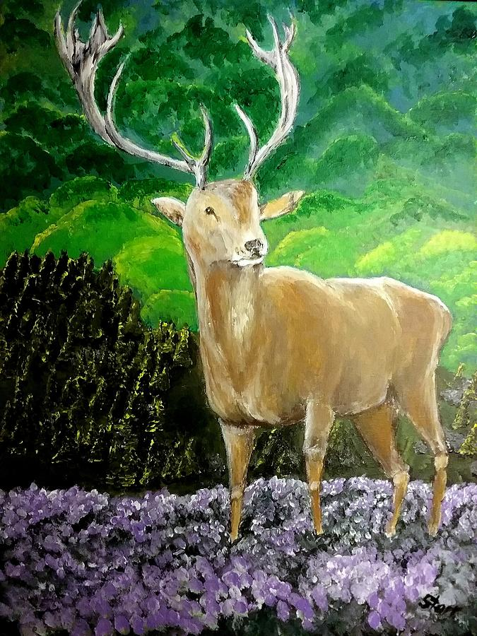 Deer In Scotland Painting