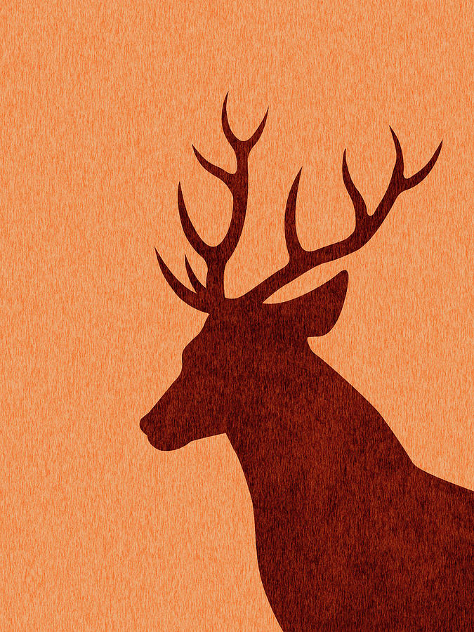 Deer Silhouette - Scandinavian Nursery Decor - Animal Friends - For Kids Room - Minimal Digital Art