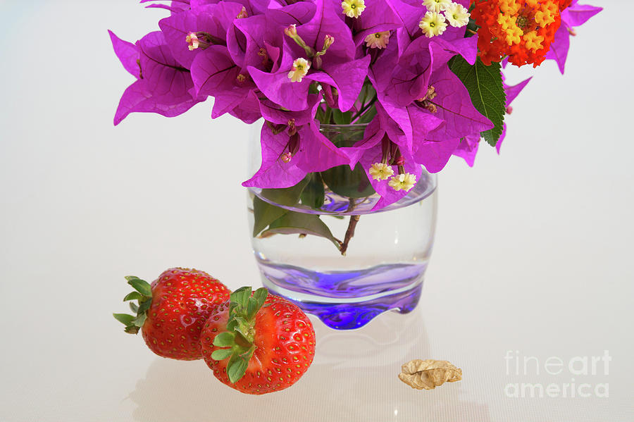 Delicious Strawberries And Pink Flowers Photograph