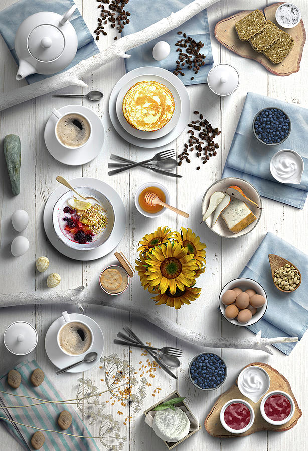Delicious Summer Breakfast With Sunflowers Photograph