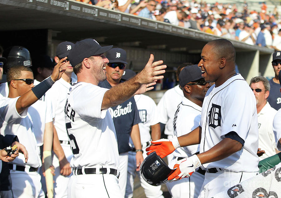 Delmon Young, Justin Verlander, and Miguel Cabrera Photograph by Leon Halip