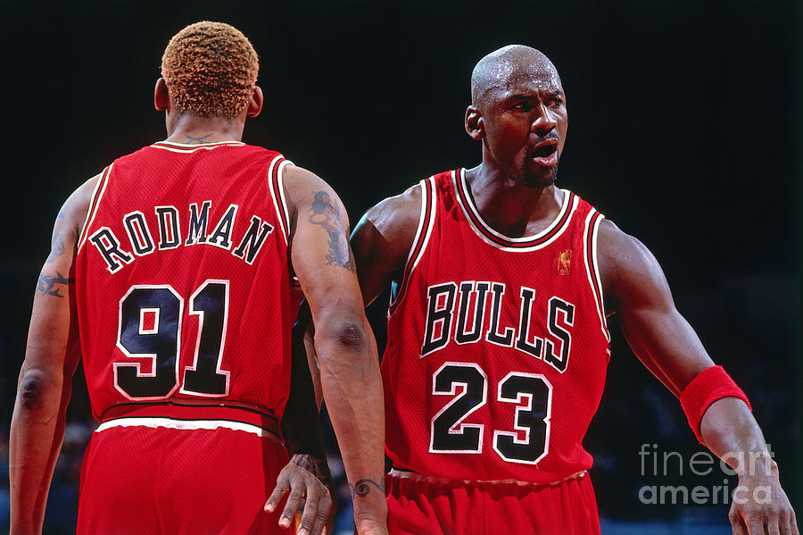Dennis Rodman and Michael Jordan Photograph by Andrew D. Bernstein
