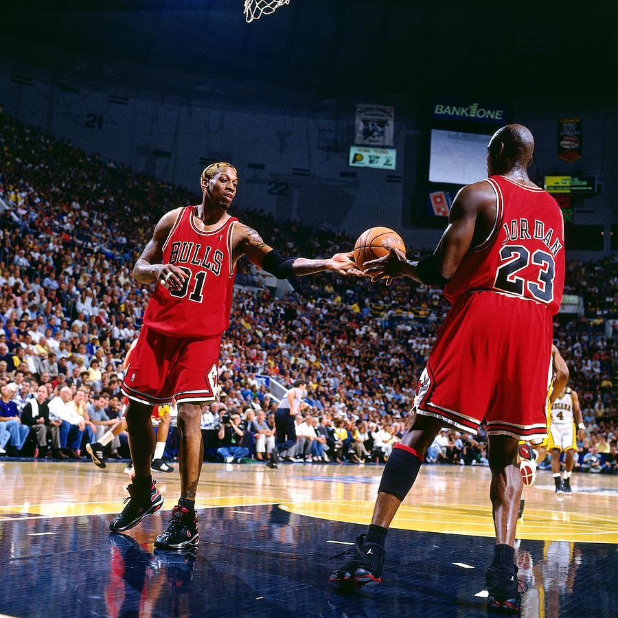 Dennis Rodman and Michael Jordan Photograph by Nathaniel S. Butler