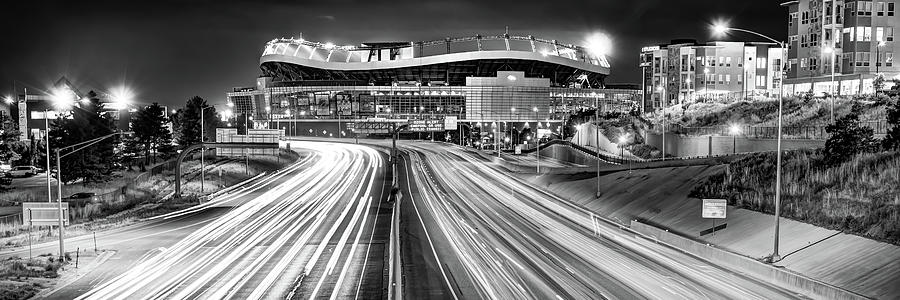 Denver Colorado Mile High Stadium Panorama - Black And White Photograph