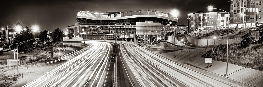 Denver Colorado Mile High Stadium Panorama - Sepia Monochrome Photograph